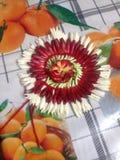 La flor roja y blanca adornada en la tabla foto de archivo