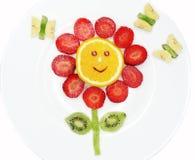 La flor roja y las mariposas de la fruta del postre creativo del niño forman Fotos de archivo libres de regalías