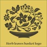 La flor sale del logotipo de la cesta Imagen de archivo libre de regalías