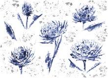 La flor y la acuarela son gran par Imagen de archivo