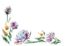 La flor y la acuarela son gran par para las tarjetas de la invitación del diseño Imágenes de archivo libres de regalías