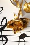 La flor y la nota del oro Fotografía de archivo libre de regalías