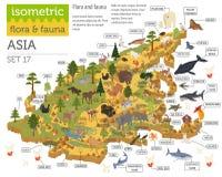 La flora asiatica isometrica 3d e la fauna tracciano gli elementi del costruttore Ani illustrazione vettoriale
