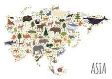 La flora asiatica piana e la fauna tracciano gli elementi del costruttore Animali, Bi illustrazione vettoriale