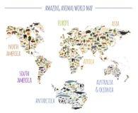 La flora piana e la fauna del mondo tracciano gli elementi del costruttore Animali, Bi illustrazione vettoriale