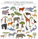 La flora piana e la fauna dell'Africa tracciano gli elementi del costruttore Animali, b illustrazione vettoriale