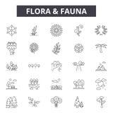La flora y la línea iconos, muestras de la fauna fijaron, vector Flora y concepto del esquema de la fauna, ejemplo: fauna, flora ilustración del vector