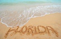 La Florida escrita en arena Fotografía de archivo libre de regalías