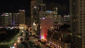 La Florida Miami la noche aérea 4K de julio de 2017 inspira 2 almacen de video