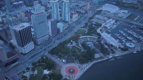 La Florida Miami la puesta del sol aérea 4K de julio de 2017 inspira 2 metrajes