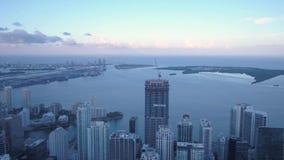 La Florida Miami la puesta del sol aérea 4K de julio de 2017 inspira 2 almacen de video