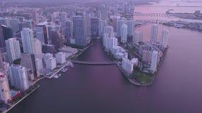 La Florida Miami la salida del sol aérea 4K de julio de 2017 inspira 2 almacen de metraje de vídeo