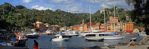 La flota de naves en el puerto de Portofino foto de archivo libre de regalías