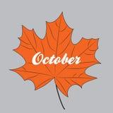 La foglia di acero arancio con l'iscrizione ottobre ha isolato Fotografia Stock Libera da Diritti