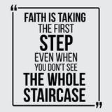 La foi prend la première étape Citations de motivation de vecteur illustration stock