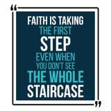 La foi prend la première étape Citations de motivation de vecteur illustration de vecteur