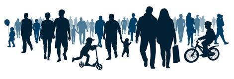 La folla della gente di camminata della gente sta andando La calca va, incontrando l'evento illustrazione di stock