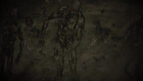 La folla dello zombie va alla ricerca della vita illustrazione vettoriale