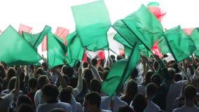 La folla felice di fan di vista superiore scuote le bandiere verdi sullo stadio archivi video