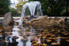 La fontaine avec l'automne a coloré le flottement de feuilles Photos libres de droits