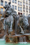 Horses of Bartholdi Fountain in Lyon Stock Photography