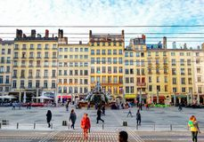 La Fontaine batoldi of the square terreaux, lyon old town, france Royalty Free Stock Images