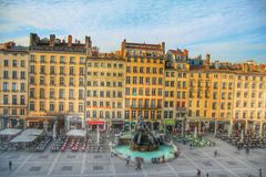 La fontaine batorini at the place des terreux, Lyon old town, France Stock Photography