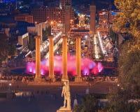 La fontaine célèbre de Montjuic à Barcelone l'espagne Photos libres de droits