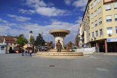 La fontaine des mères de Macédoine, place de Phillip II, Sko Images libres de droits