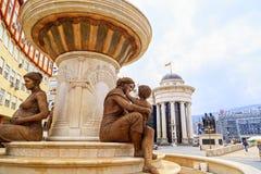 La fontaine des mères de Macédoine, place de Phillip II, Sko Photographie stock