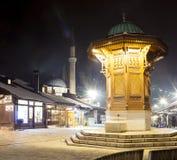 La fontaine en bois de Sebilj, Sarajevo Photo stock