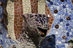 La fontaine principale Parc Guell, Barcelone du dragon Image libre de droits