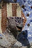 La fontaine principale Parc Guell, Barcelone du dragon Images libres de droits