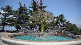 La fontana centrale nel parco di Mtatsminda ha individuato massimo sopra la città di Tbilisi, la Georgia archivi video