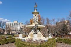 La fontana commemorativa di Corning nel parco di Bushnell, Hartford CT Fotografia Stock Libera da Diritti