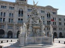 La fontana dei quattro Continets sull'UNITA d Italia del dell della pizza Fotografia Stock Libera da Diritti