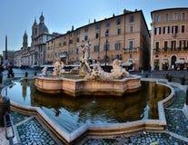 La Fontana del Nettuno or Fountain of Neptune at Piazza Navona. In Rome on a sunny summer day. ROME,ITALY - FEBRUARY 27,2018 stock photography