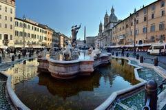 La Fontana del Nettuno or Fountain of Neptune at Piazza Navona. In Rome on a sunny summer day. ROME,ITALY - FEBRUARY 27,2018 royalty free stock photo