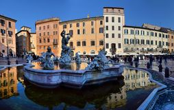 La Fontana del Nettuno or Fountain of Neptune at Piazza Navona. In Rome on a sunny summer day. ROME,ITALY - FEBRUARY 27,2018 royalty free stock photography