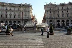 La fontana delle naiadi sul della Repubblica della piazza a Roma Fotografia Stock Libera da Diritti