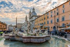 La fontana di Nettuno alla piazza Navona immagini stock libere da diritti