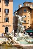 La fontana di Nettuno alla piazza Navona a Roma Fotografia Stock Libera da Diritti