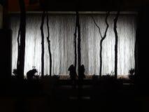 La fontana di parete emette luce alla notte con le siluette in New York Immagine Stock