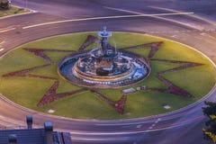 La fontana di tre tolleranze a Malaga Fotografia Stock