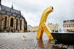 La fontana dorata moderna Fotografie Stock Libere da Diritti