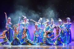 La fontana-mattina nella danza popolare di foresta-cinese Immagini Stock Libere da Diritti