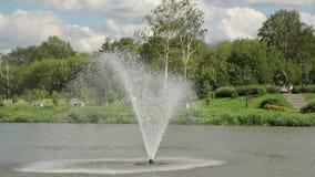 La fontana nello stagno Il parco con un lago, dove una fontana video d archivio