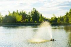 La fontana sul lago Fotografie Stock