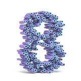 La fonte blu porpora fatta dei tubi NUMERA OTTO 8 3D illustrazione vettoriale