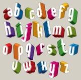 la fonte 3d, vector le lettere variopinte, l'alfabeto tridimensionale geometrico Immagine Stock Libera da Diritti